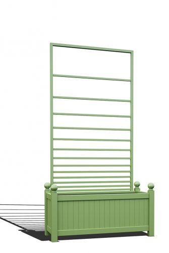 R17-Y-PHL-Langer Metall Pflanzkübel mit abnehmbaren Rankgitter in RAL 6021 pale green