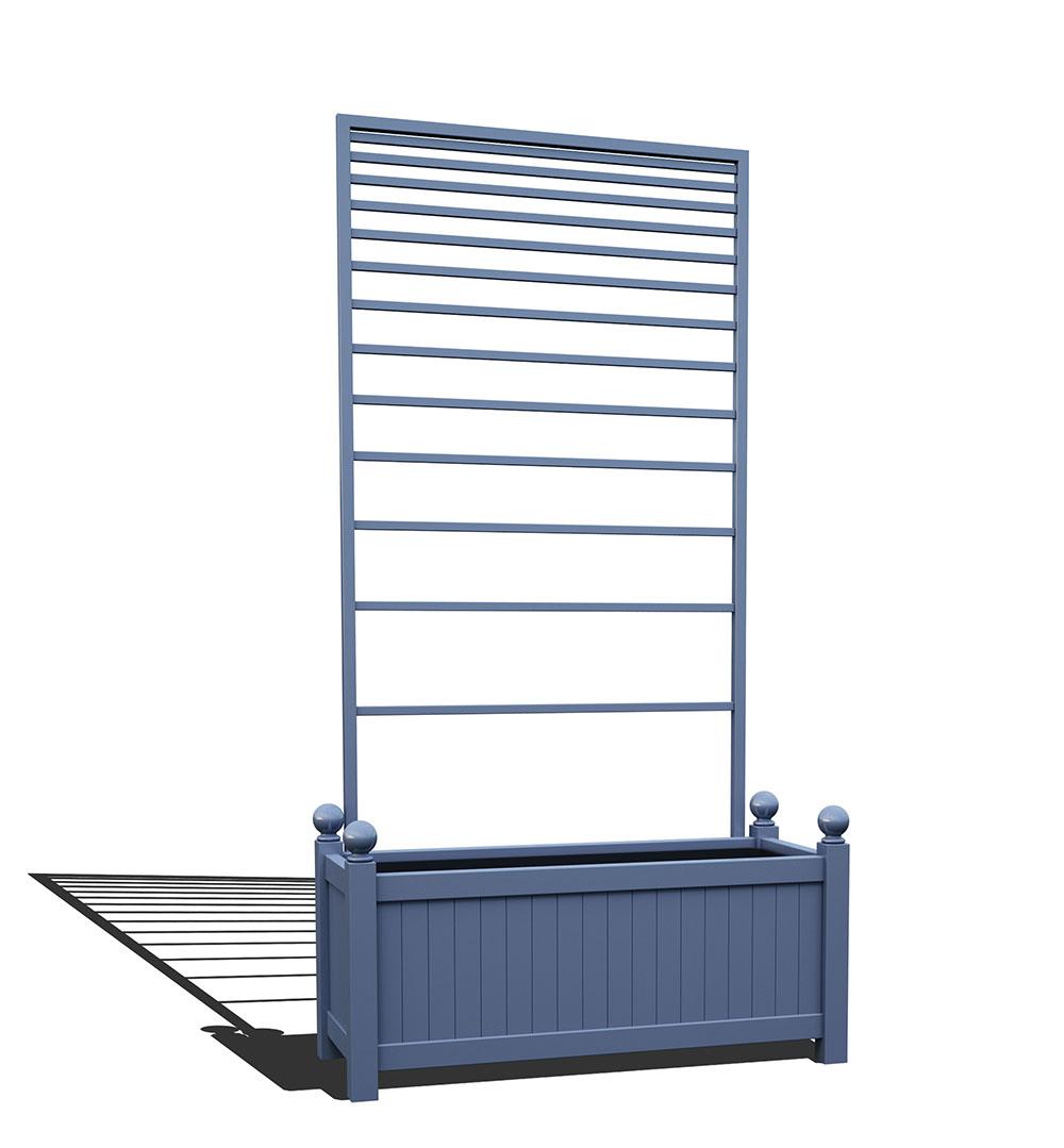 R17-Y-PLH-Langer Metall Pflanzkübel mit abnehmbaren Rankgitter in RAL 5014 pigeon blue