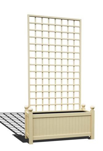 R17-Y-SHD-Langer Metall Pflanzkübel mit abnehmbaren Rankgitter in RAL 1015 light ivory