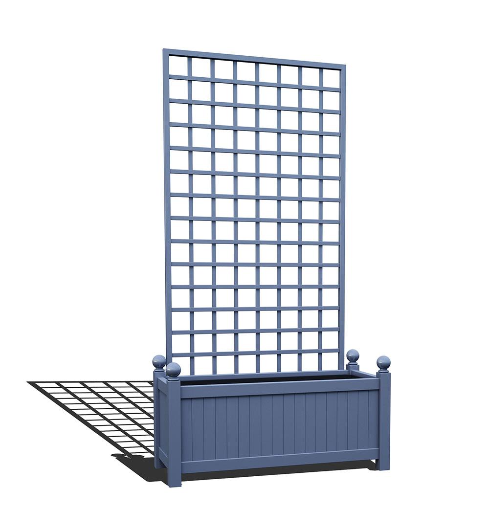 R17-Y-SHD-Langer Metall Pflanzkübel mit abnehmbaren Rankgitter in RAL 5014 pigeon blue