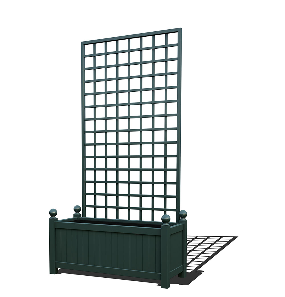 R17-Y-SHD-Langer Metall Pflanzkübel mit abnehmbaren Rankgitter in RAL 6012 black green