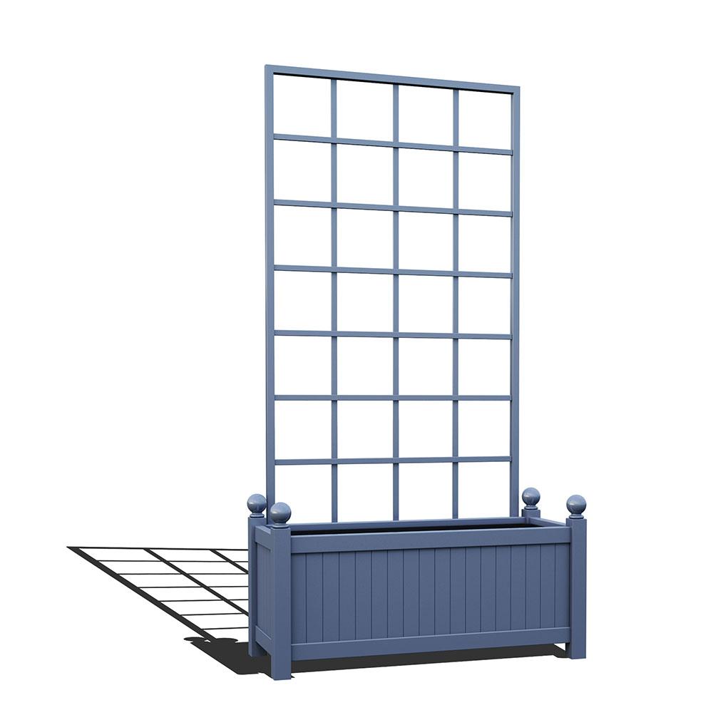 R17-Y-SLD-Langer Metall Pflanzkübel mit abnehmbaren Rankgitter in RAL 5014 pigeon blue