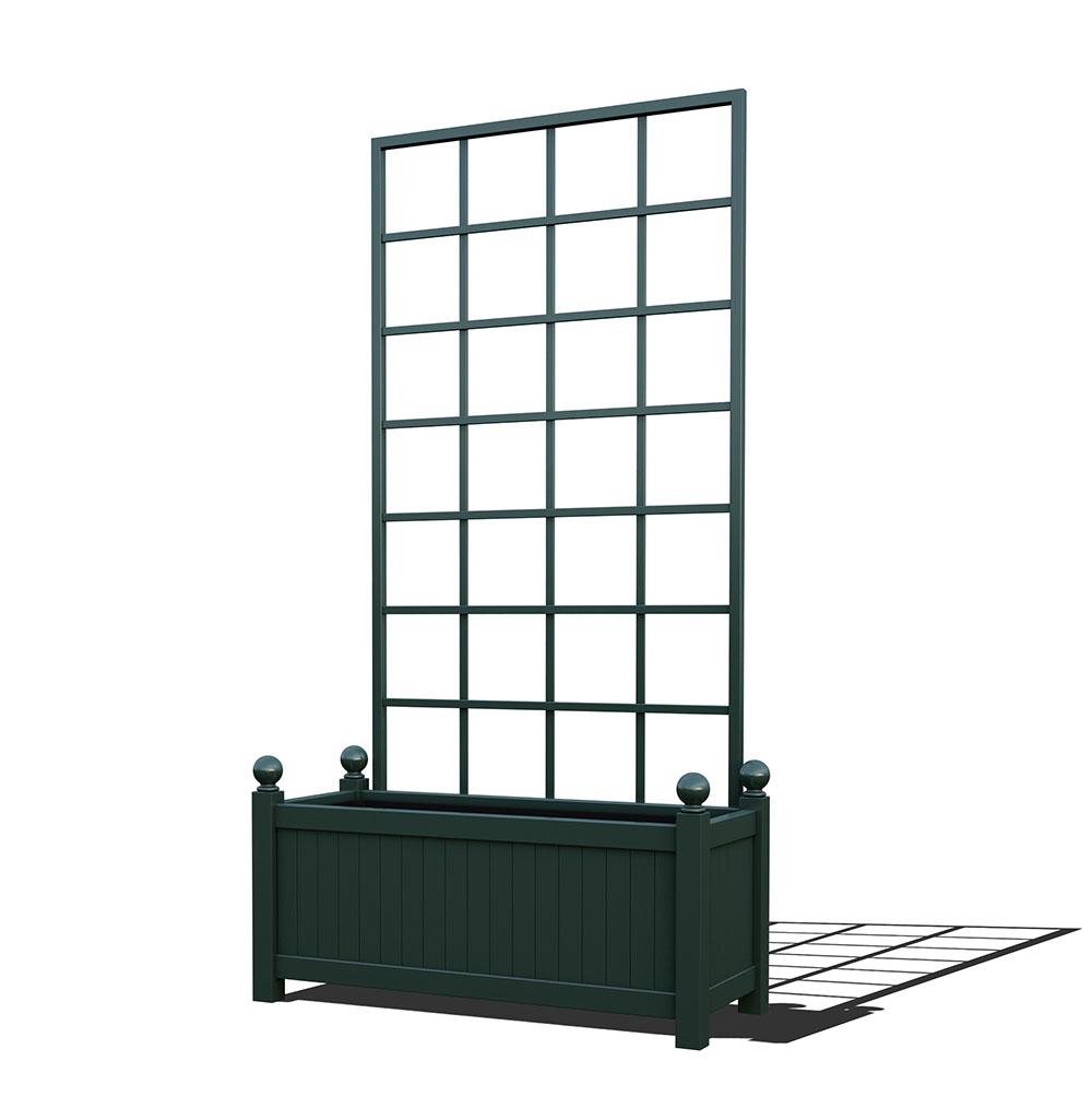 R17-Y-SLD-Langer Metall Pflanzkübel mit abnehmbaren Rankgitter in RAL 6012 black green