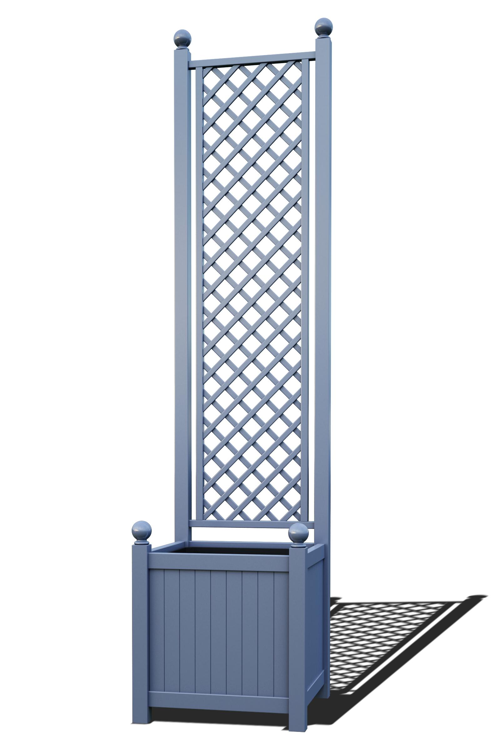 R23-A-DHD-Versailler Pflanzkübel mit Rankgitter in RAL-5014 pigeon blue