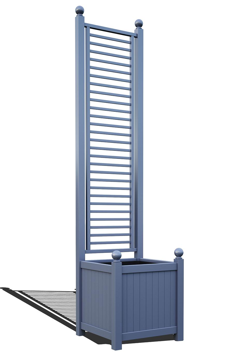 R23-A-LHD-Versailler Pflanzkübel mit Rankgitter in RAL-5014 pigeon blue