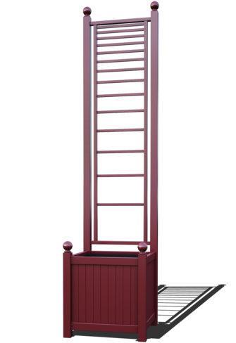 R23-A-PLH-Versailler Pflanzkübel mit Rankgitter in RAL-3005 wine red