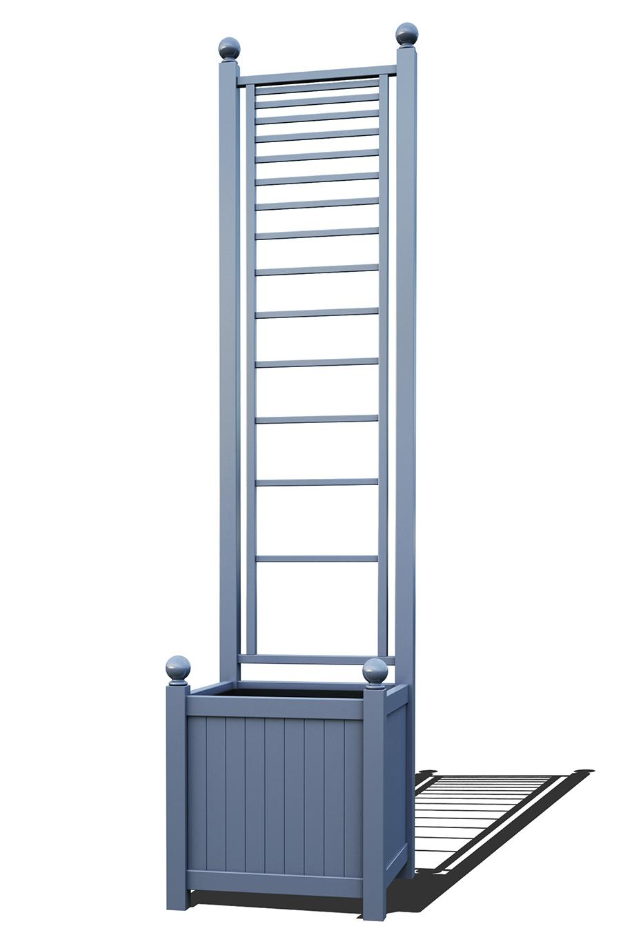 R23-A-PLH-Versailler Pflanzkübel mit Rankgitter in RAL-5014 pigeon blue