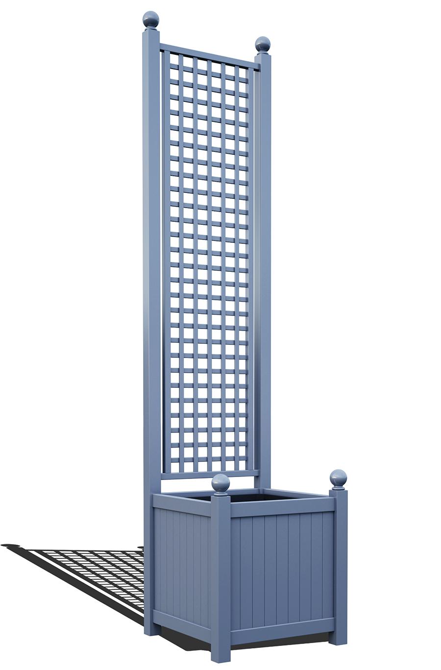 R23-A-SHD-Versailler Pflanzkübel mit Rankgitter in RAL-5014 pigeon blue