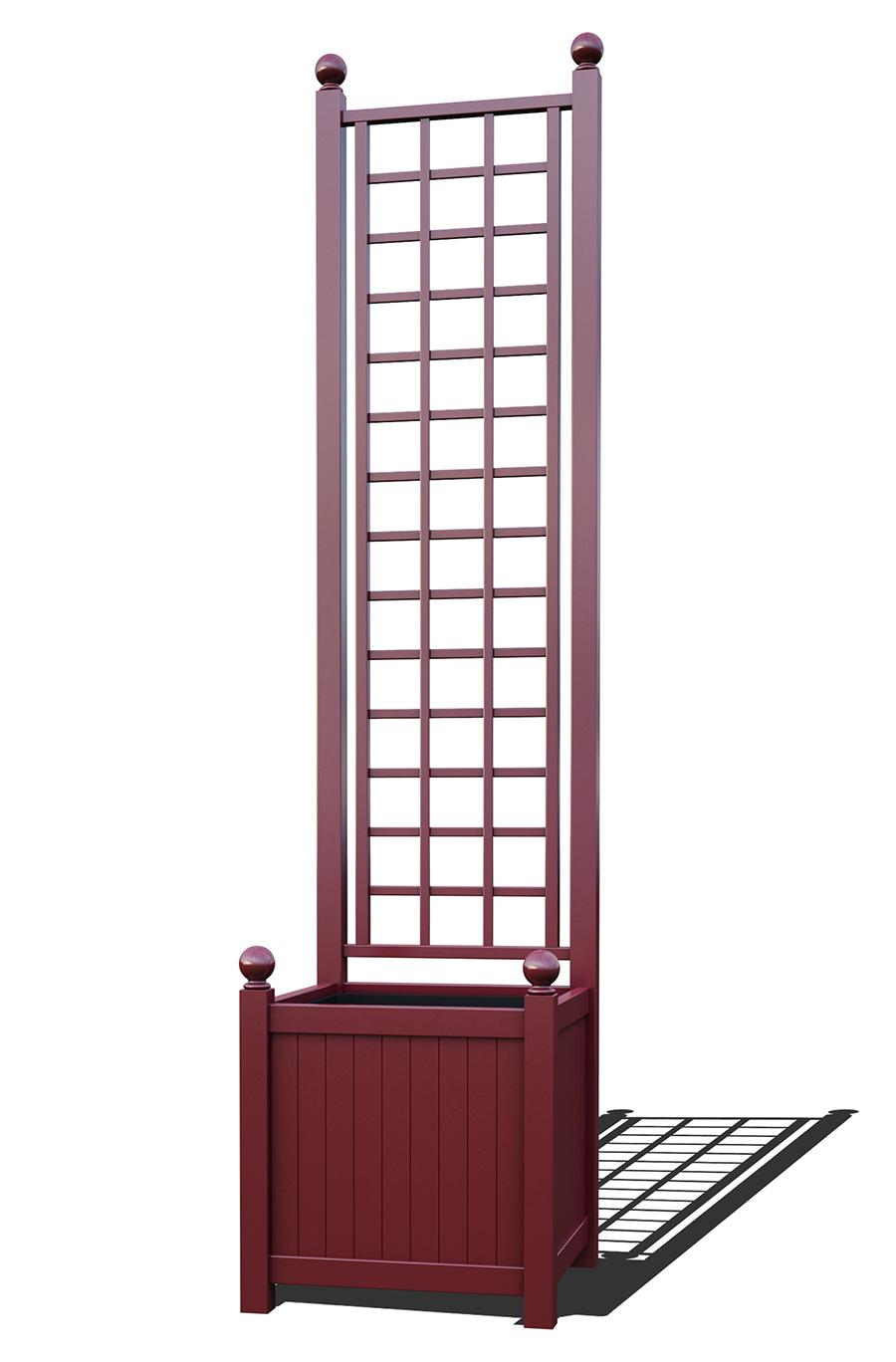 R23-A-SLD-Versailler Pflanzkübel mit Rankgitter in RAL-3005 wine red