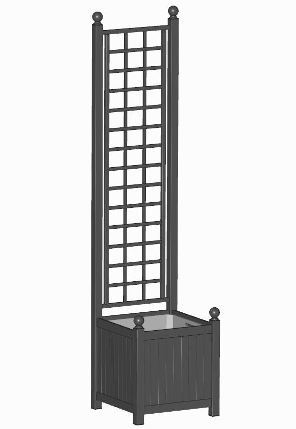 R23-A-SLD-Versailler Pflanzkübel mit Rankgitter in RAL 9005 Schwarz