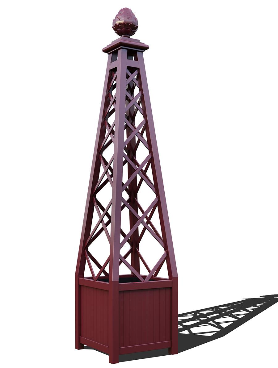 R23-PY-A-Versailler Pflanzkübel mit Rankpyramide in RAL-3005 wine red