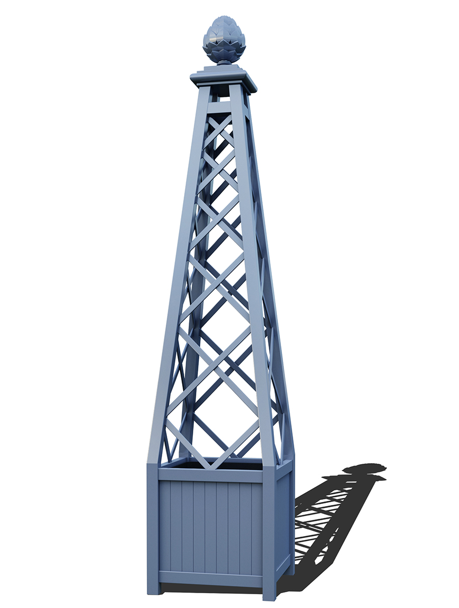 R23-PY-A-Versailler Pflanzkübel mit Rankpyramide in RAL-5014 pigeon blue