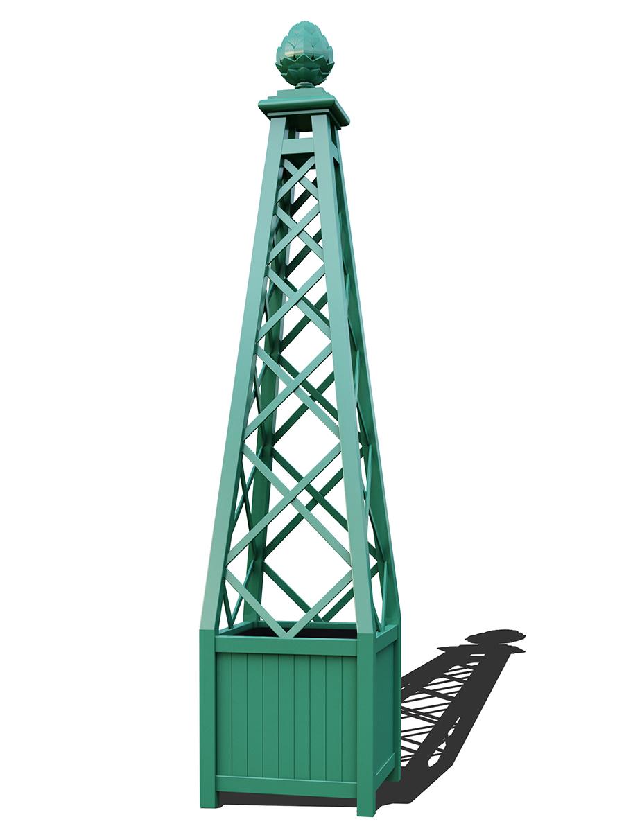 R23-PY-A-Versailler Pflanzkübel mit Rankpyramide in RAL-6000 patina green