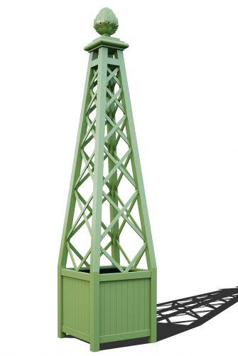 R23-PY-A-Versailler Pflanzkübel mit Rankpyramide in RAL-6021 pale green
