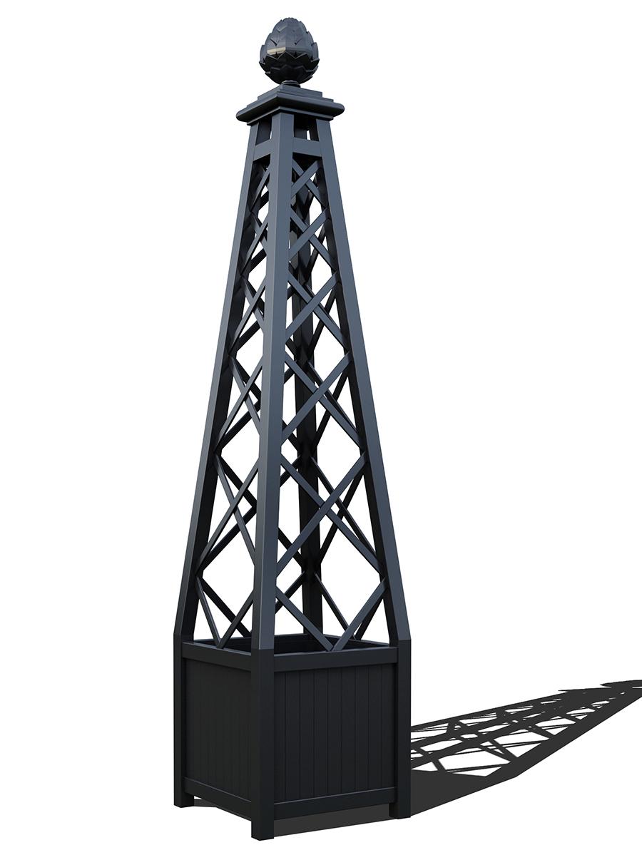 R23-PY-A-Versailler Pflanzkübel mit Rankpyramide in RAL-9005 Jet black