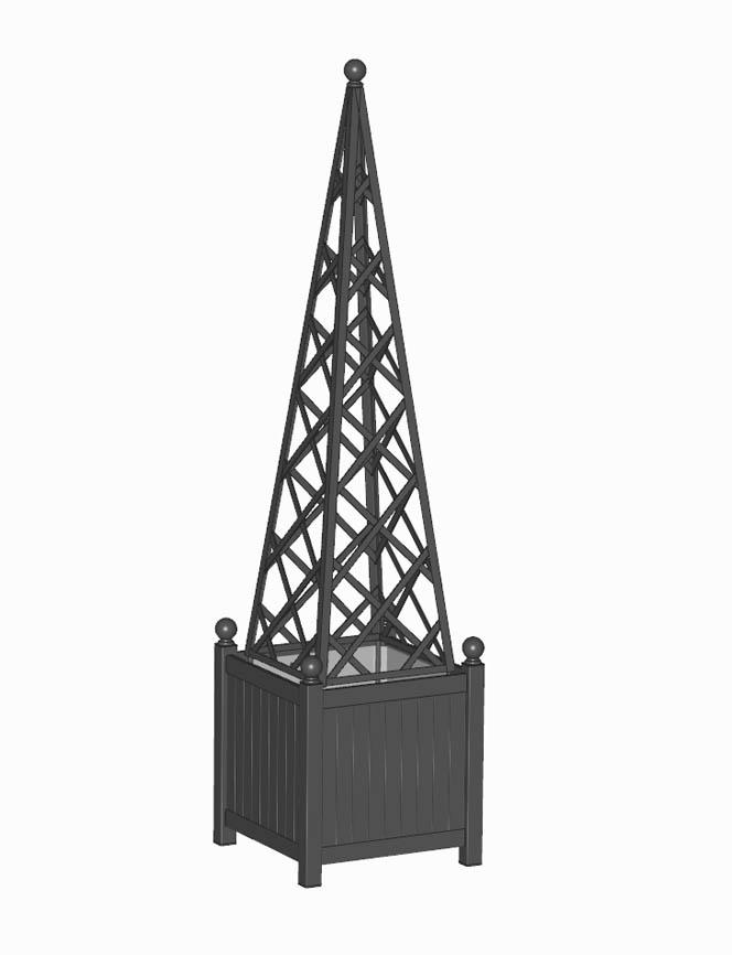 R23-PY-Y-Versailler Pflanzkübel mit Rank Pyramide in RAL 9005 Schwarz