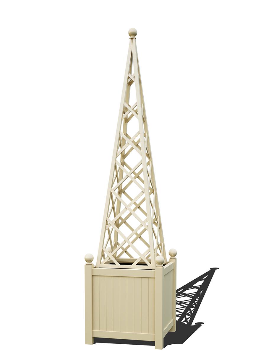 R23-PY-Y-Versailler Pflanzkübel mit Rankpyramide in RAL-1015 light ivory