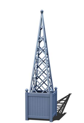 R23-PY-Y-Versailler Pflanzkübel mit Rankpyramide in RAL-5014 pigeon blue