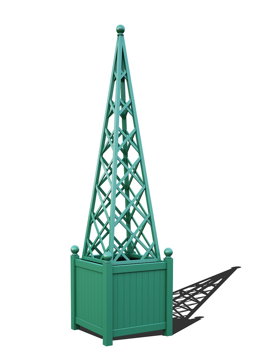 R23-PY-Y-Versailler Pflanzkübel mit Rankpyramide in RAL-6000 patina green