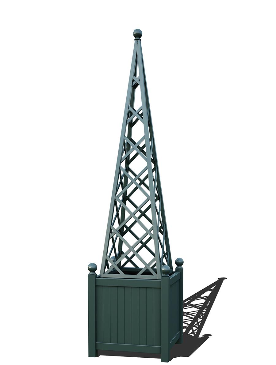 R23-PY-Y-Versailler Pflanzkübel mit Rankpyramide in RAL-6012 black green