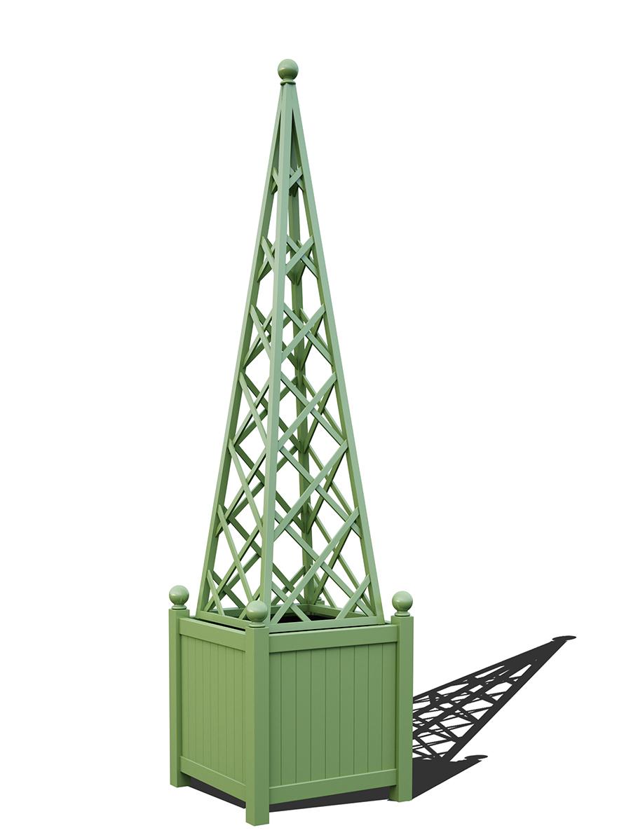 R23-PY-Y-Versailler Pflanzkübel mit Rankpyramide in RAL-6021 pale green