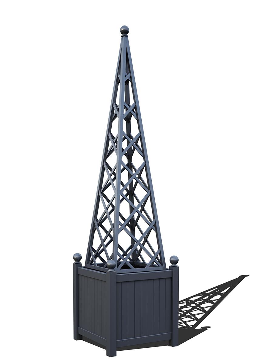 R23-PY-Y-Versailler Pflanzkübel mit Rankpyramide in RAL-7024 graphite grey