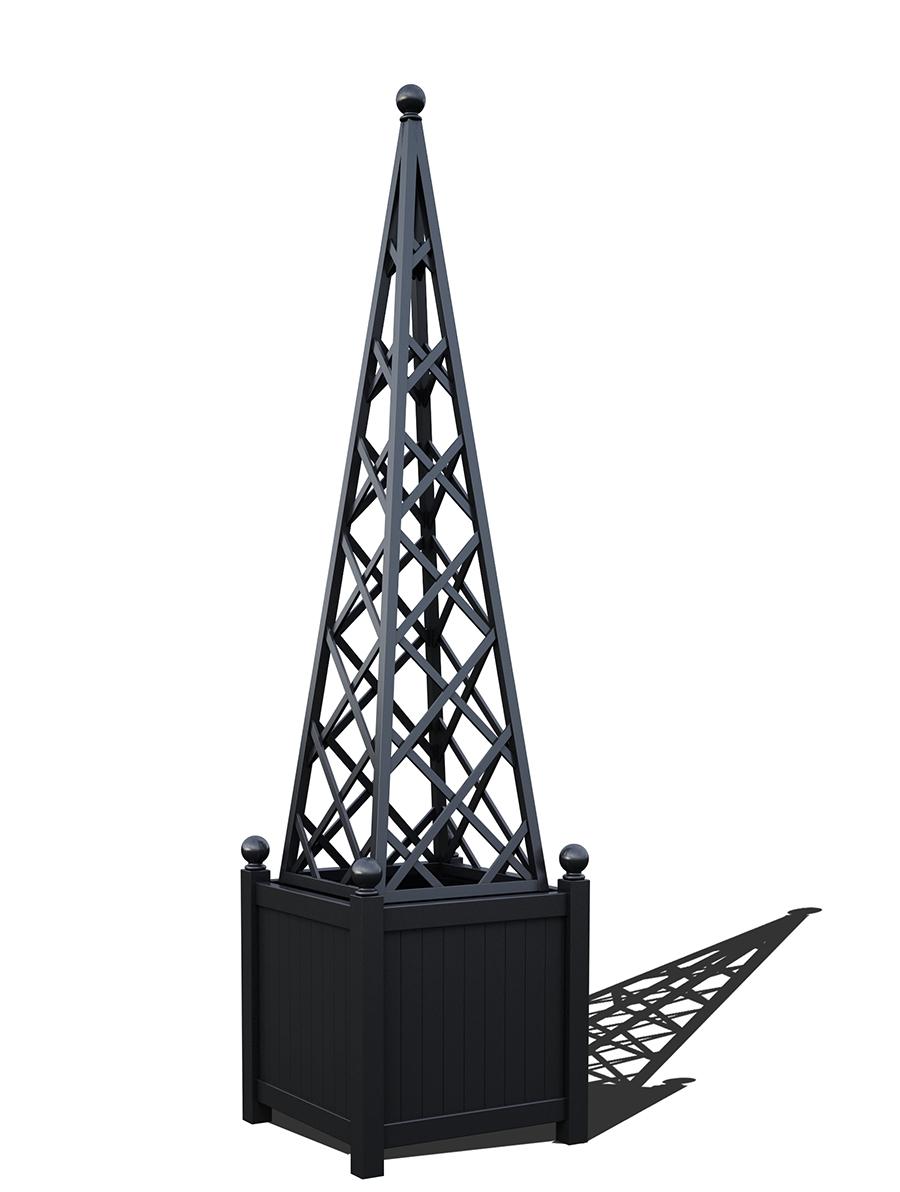 R23-PY-Y-Versailler Pflanzkübel mit Rankpyramide in RAL-9005 Jet black