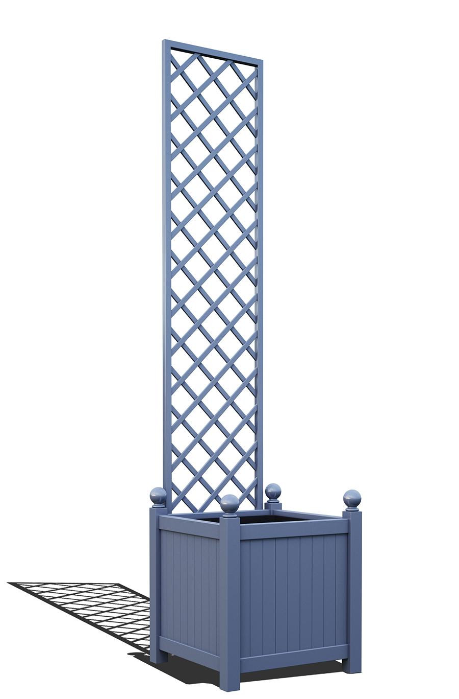 R23-Y-DHD-Versailler Pflanzkübel mit Rankgitter in RAL-5014 pigeon blue