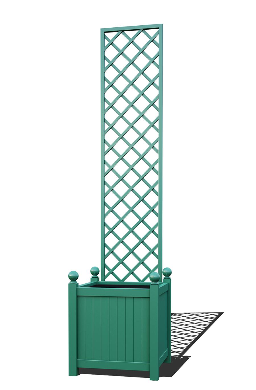 R23-Y-DHD-Versailler Pflanzkübel mit Rankgitter in RAL-6000 patina green