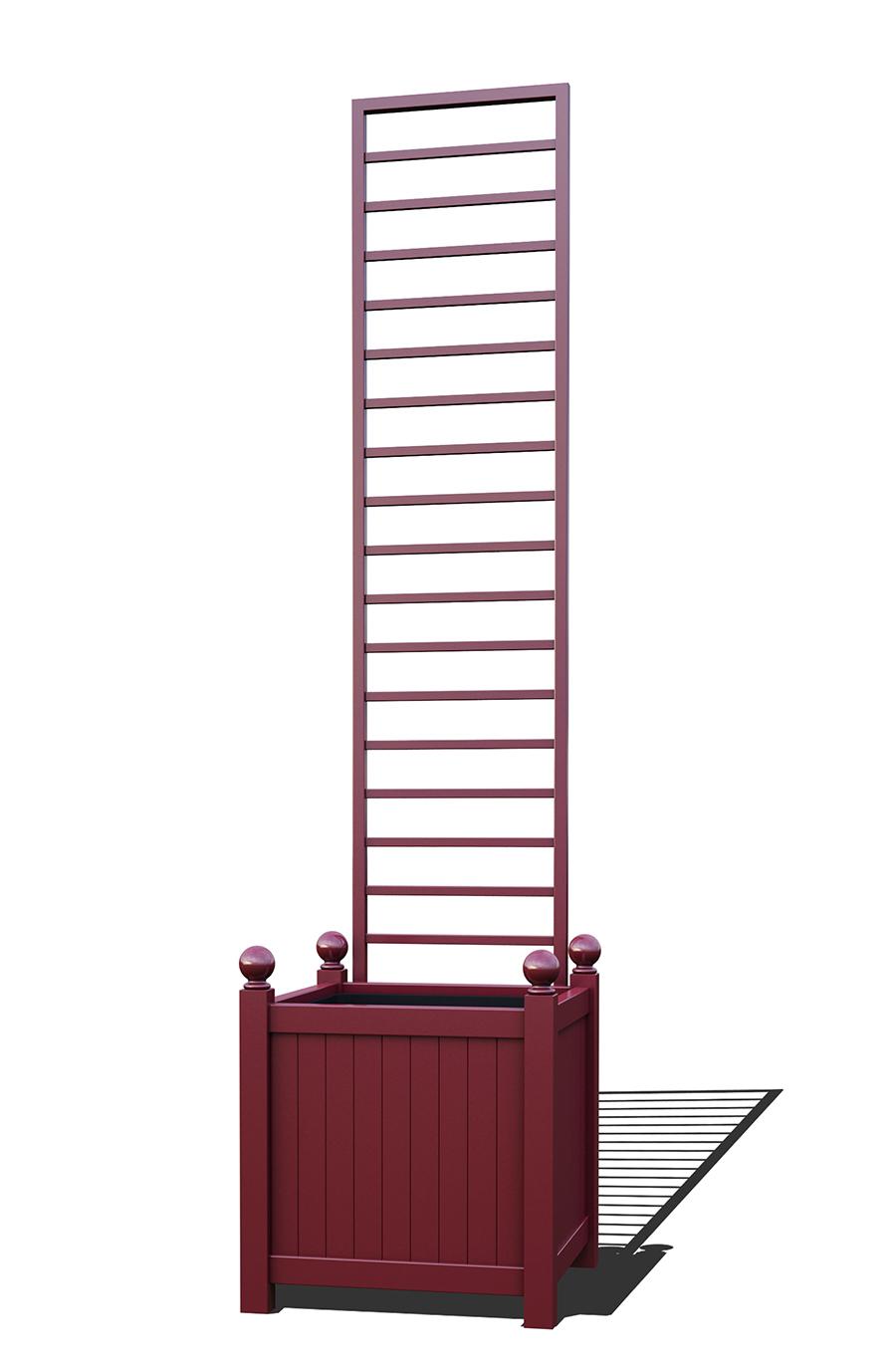 R23-Y-LHD-Versailler Pflanzkübel mit Rankgitter in RAL-3005 wine red