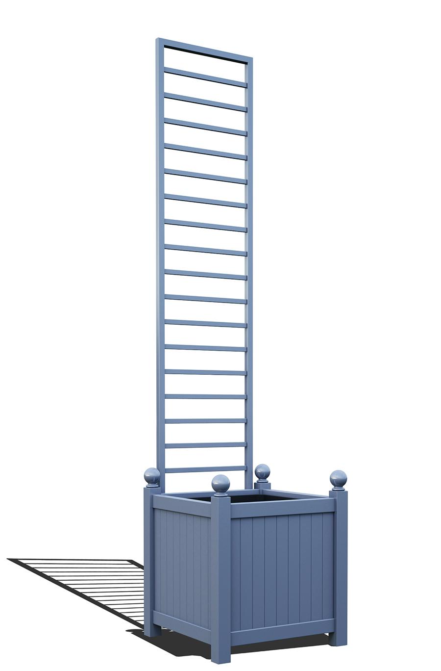 R23-Y-LHD-Versailler Pflanzkübel mit Rankgitter in RAL-5014 pigeon blue