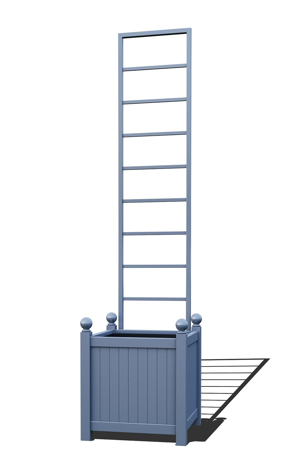 R23-Y-LLD-Versailler Pflanzkübel mit Rankgitter in RAL-5014 pigeon blue