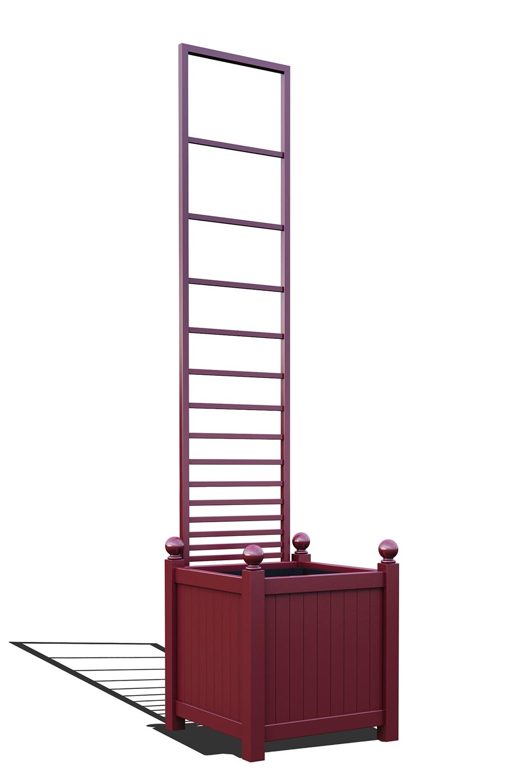 R23-Y-PHL-Versailler Pflanzkübel mit Rankgitter in RAL-3005 wine red