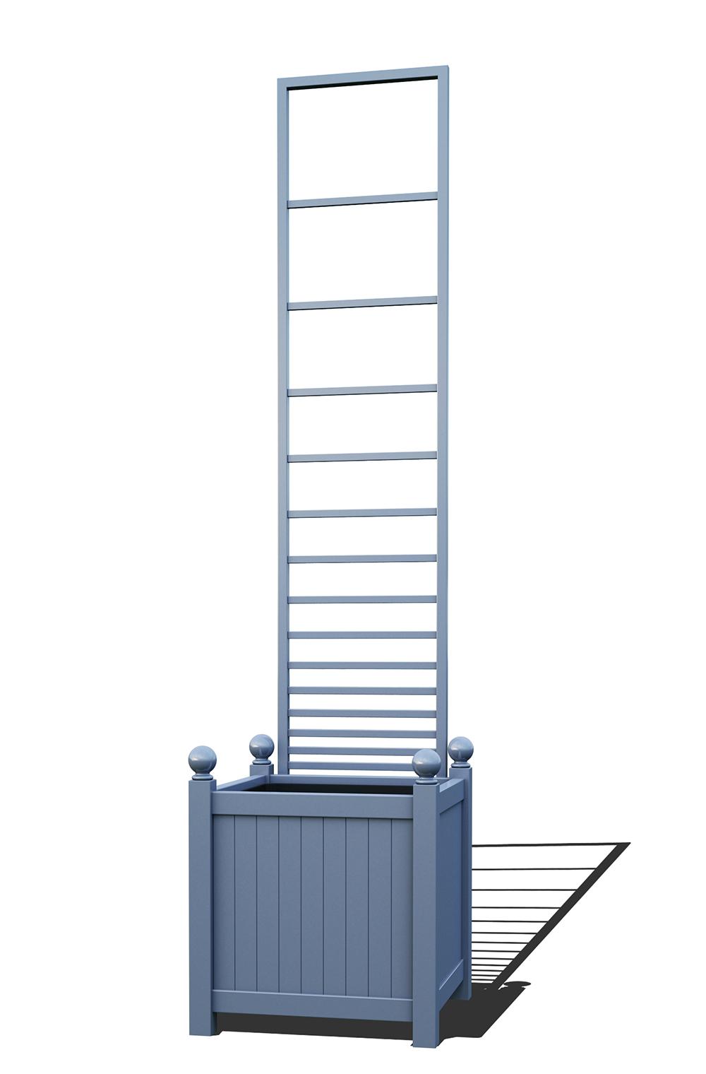 R23-Y-PHL-Versailler Pflanzkübel mit Rankgitter in RAL-5014 pigeon blue