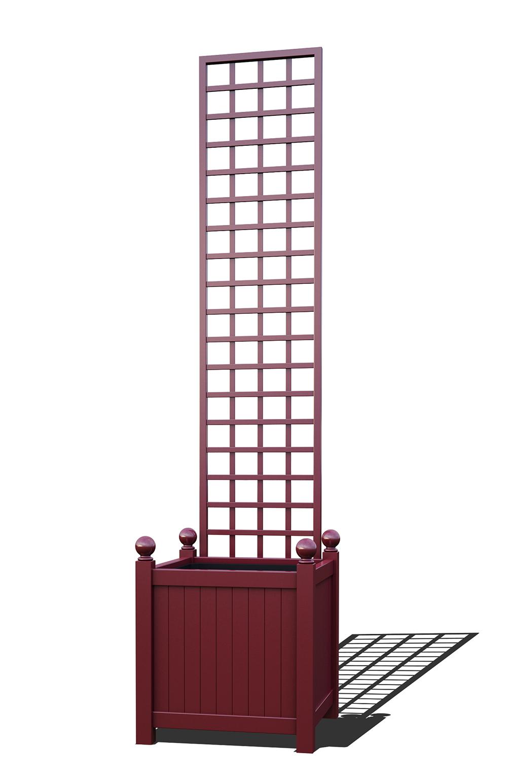 R23-Y-SHD-Versailler Pflanzkübel mit Rankgitter in RAL-3005 wine red