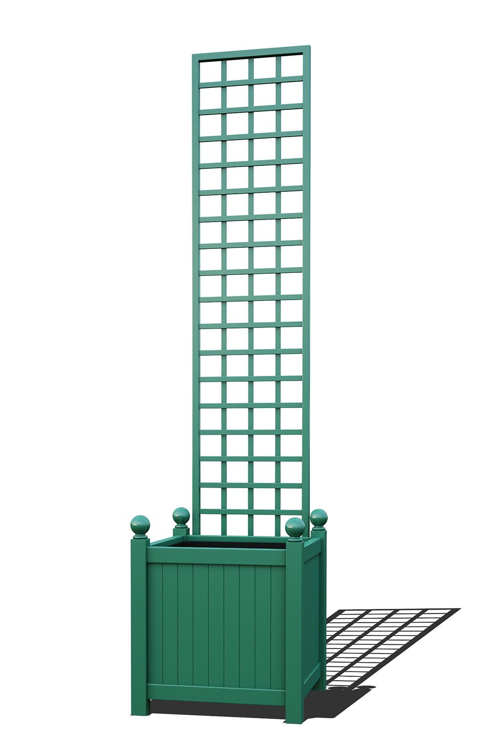 R23-Y-SHD-Versailler Pflanzkübel mit Rankgitter in RAL-6000 patina green