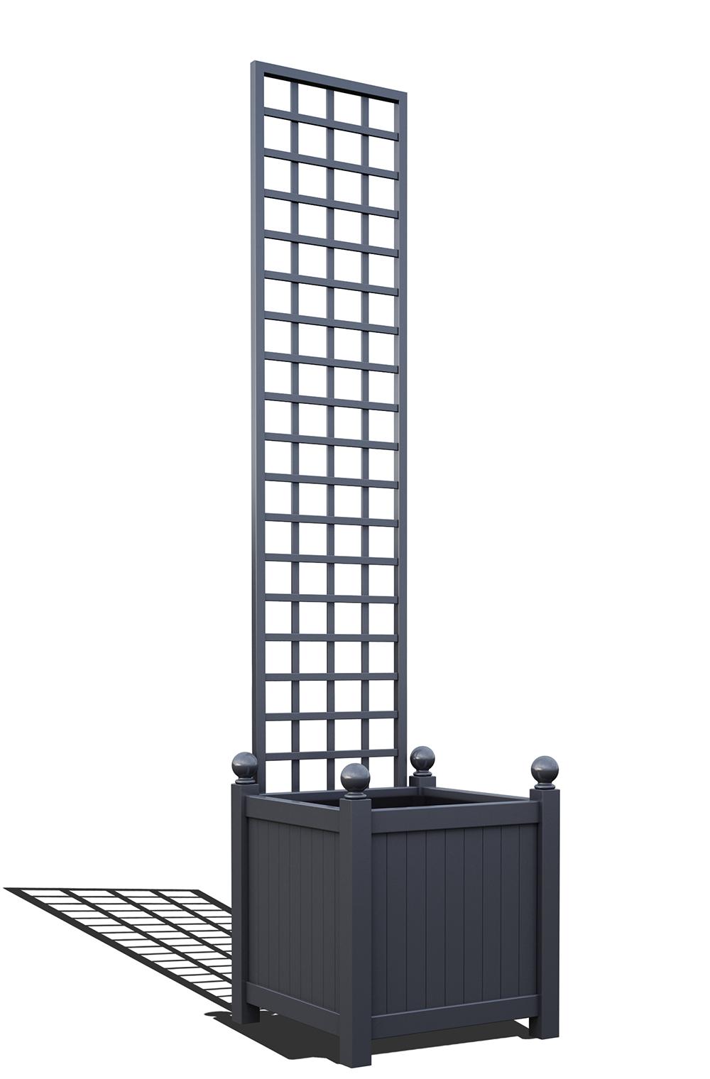 R23-Y-SHD-Versailler Pflanzkübel mit Rankgitter in RAL-7024 graphite grey
