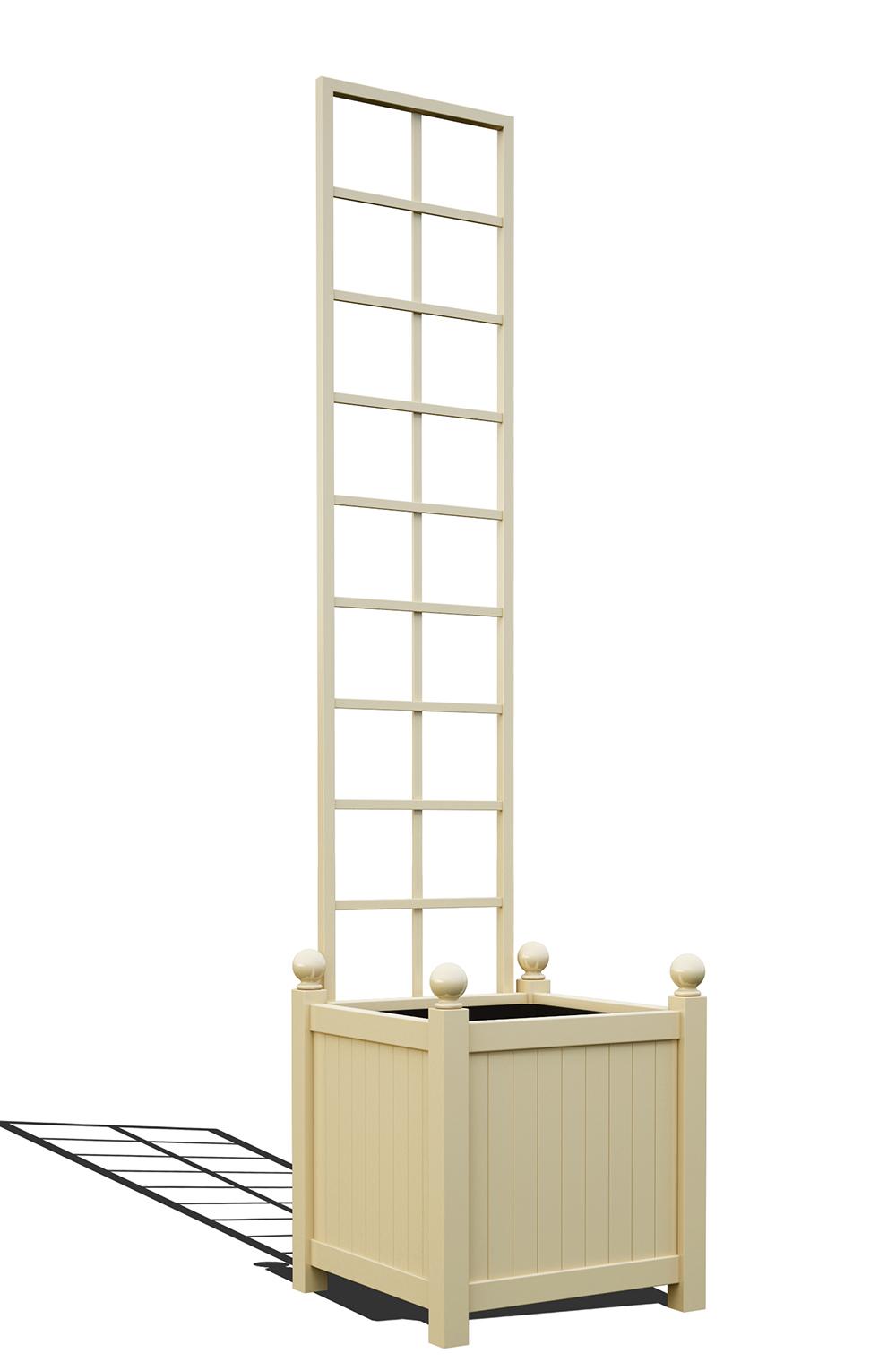 R23-Y-SLD-Versailler Pflanzkübel mit Rankgitter in RAL-1015 light ivory