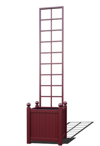 R23-Y-SLD-Versailler Pflanzkübel mit Rankgitter in RAL-3005 wine red