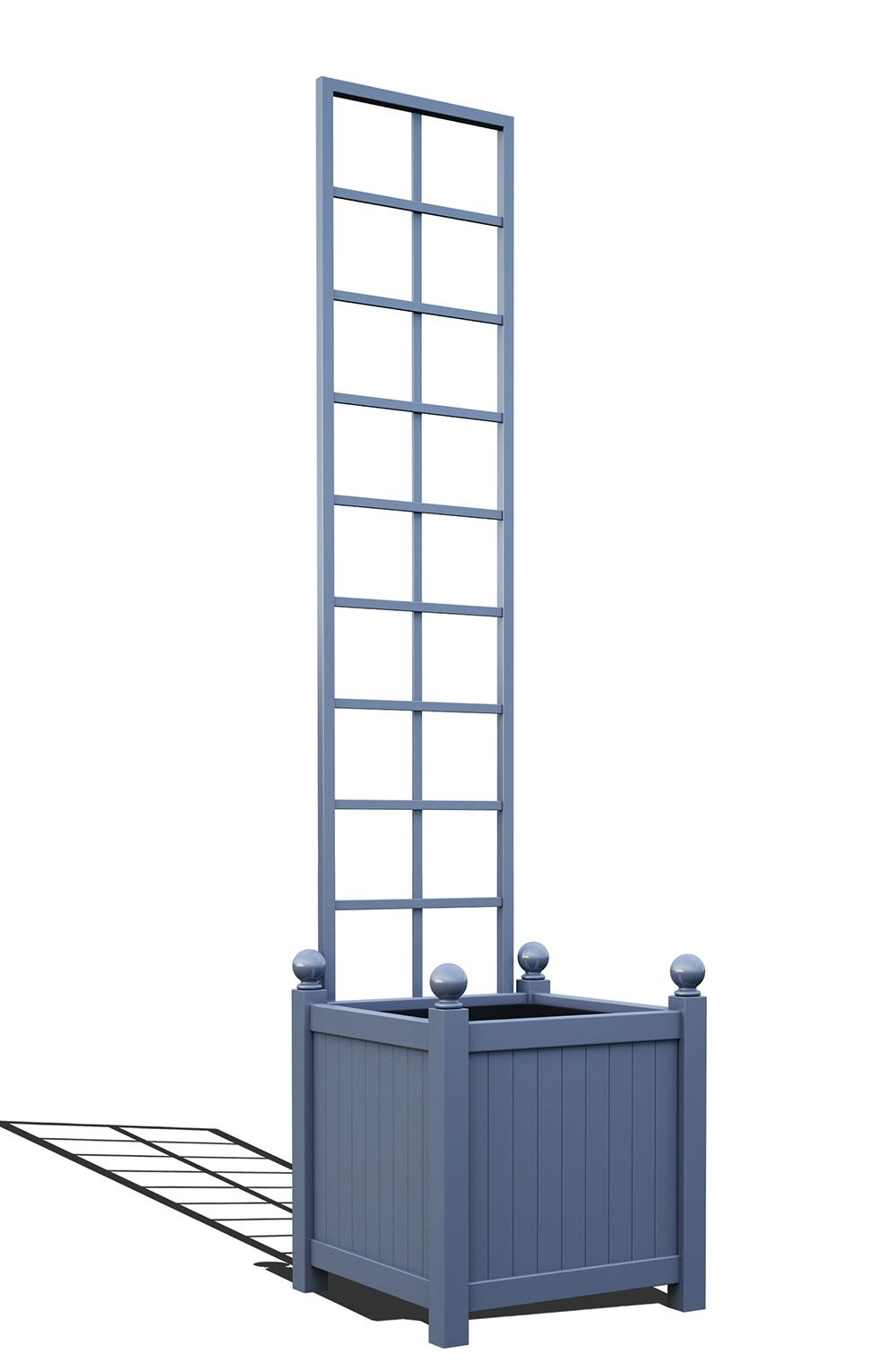 R23-Y-SLD-Versailler Pflanzkübel mit Rankgitter in RAL-5014 pigeon blue
