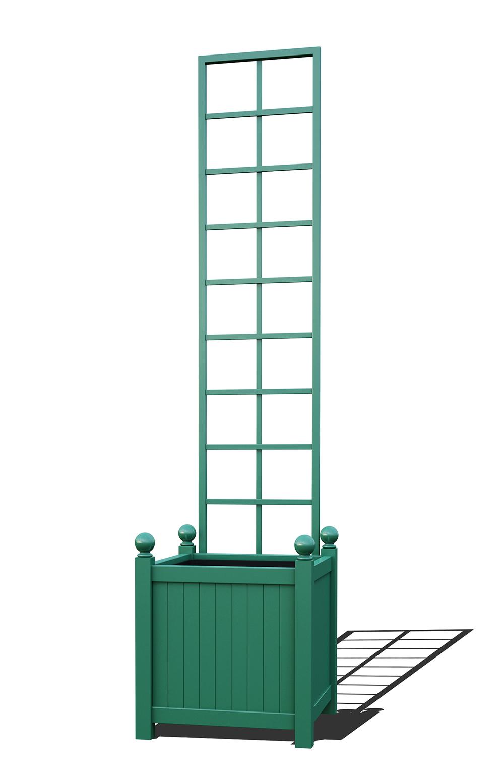 R23-Y-SLD-Versailler Pflanzkübel mit Rankgitter in RAL-6000 patina green