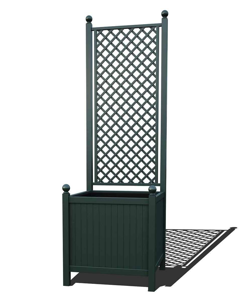 R24-A-DHD-Versailler Park Metall Pflanzkübel mit Rankgitter in RAL 6012 black green