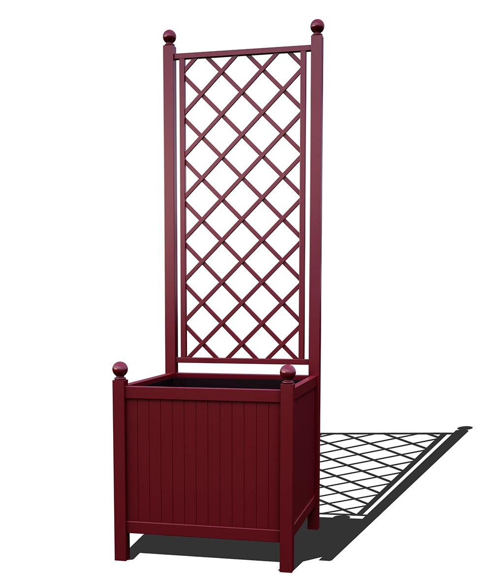 R24-A-DLD-Versailler Park Metall Pflanzkübel mit Rankgitter in RAL 3005 wine red