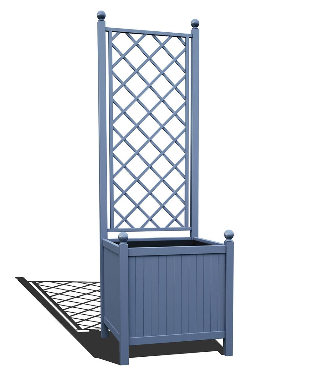 R24-A-DLD-Versailler Park Metall Pflanzkübel mit Rankgitter in RAL 5014 pigeon blue