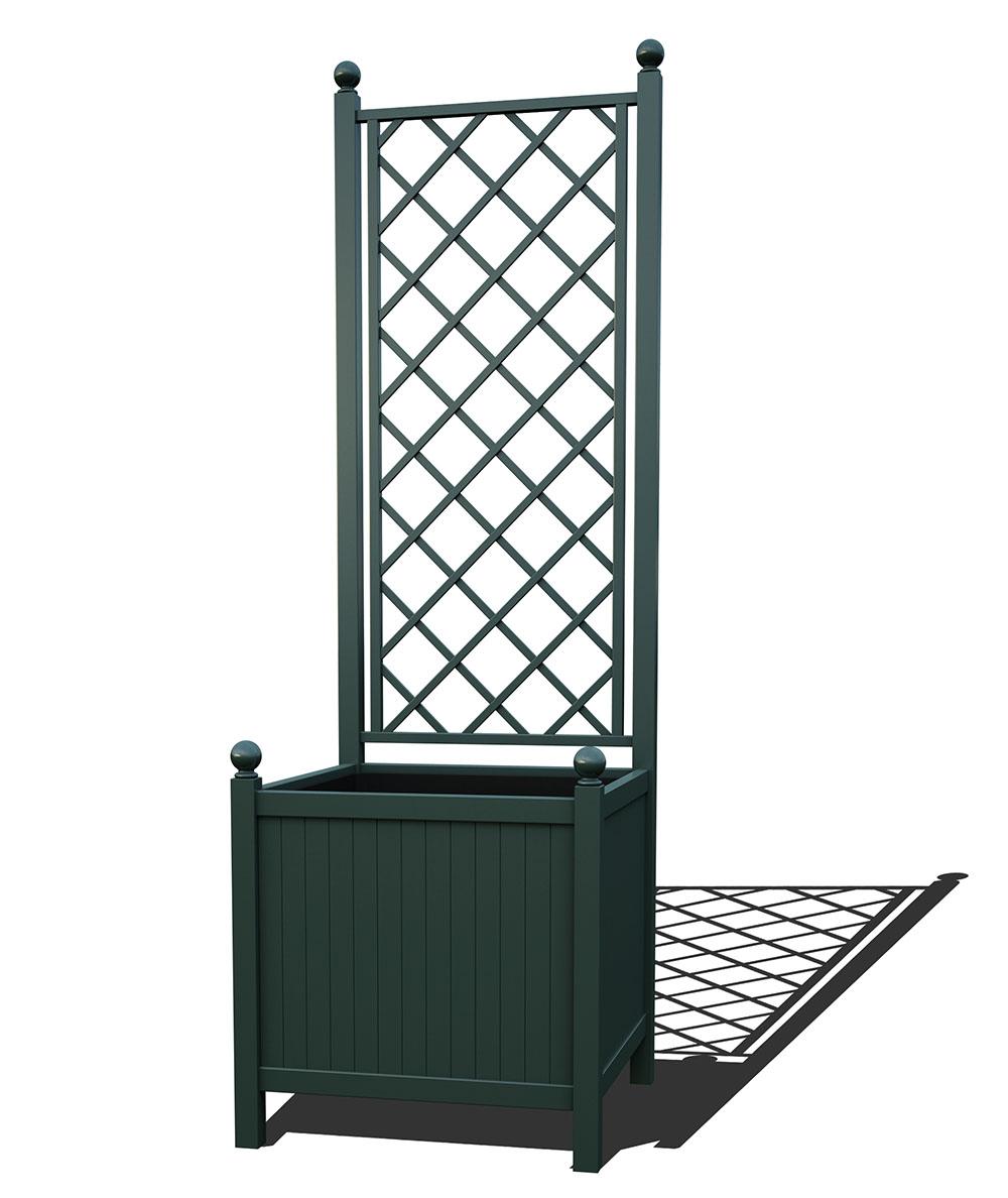 R24-A-DLD-Versailler Park Metall Pflanzkübel mit Rankgitter in RAL 6012 black green