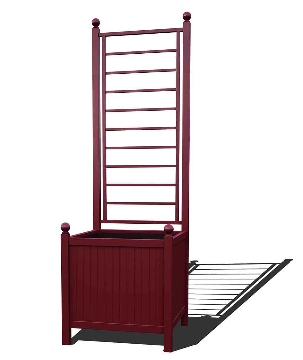 R24-A-LLD-Versailler Park Metall Pflanzkübel mit Rankgitter in RAL 3005 wine red