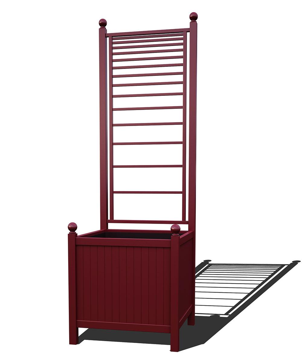 R24-A-PLH-Versailler Park Metall Pflanzkübel mit Rankgitter in RAL 3005 wine red