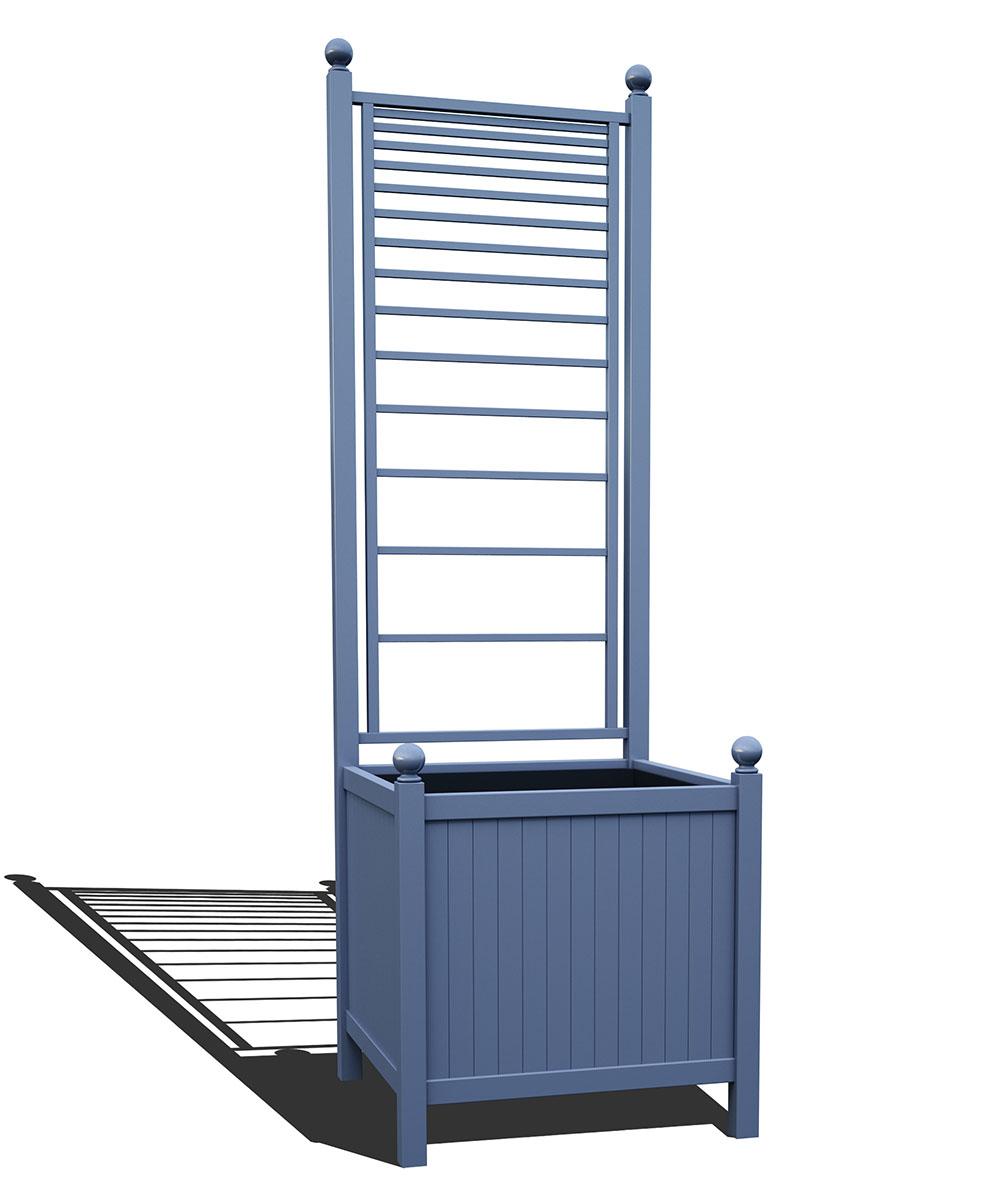 R24-A-PLH-Versailler Park Metall Pflanzkübel mit Rankgitter in RAL 5014 pigeon blue