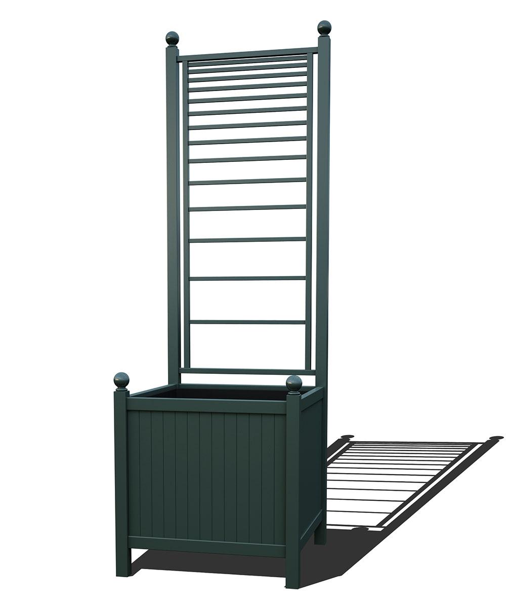 R24-A-PLH-Versailler Park Metall Pflanzkübel mit Rankgitter in RAL 6012 black green
