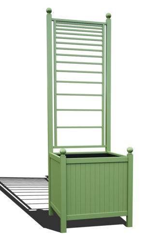 R24-A-PLH-Versailler Park Metall Pflanzkübel mit Rankgitter in RAL 6021 pale green